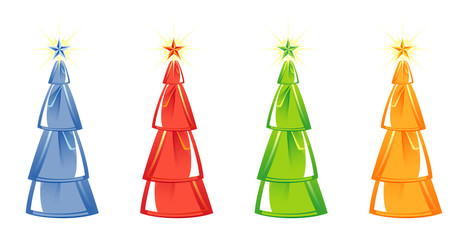 Christmas tree isolated on White background. four colors. Vector