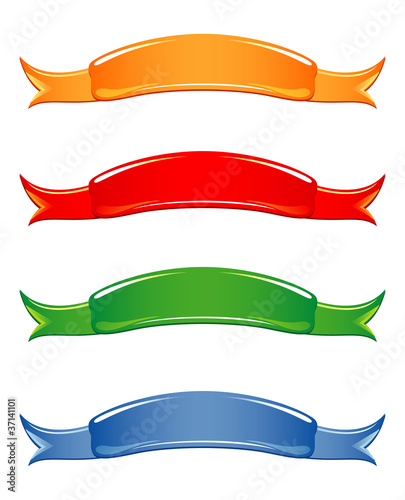 Ribbons in four colors. Vector illustration