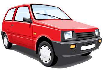 Vector isolated red city car without gradients