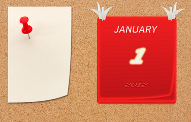 january calender of 2012 year on fiberboard