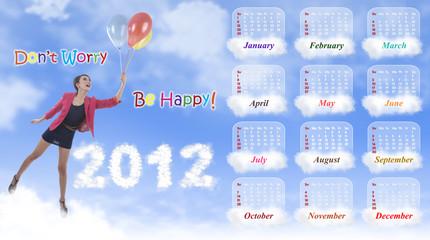 2012 Calendar Template: Happiness