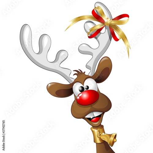 Renna Natale Buffa Fumetto-Funny Reindeer Cartoon-Vector