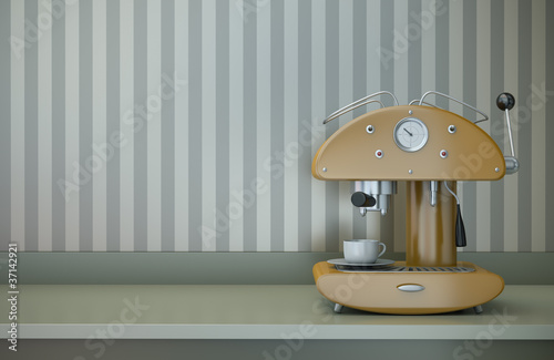 Retro coffee machine. 3D render