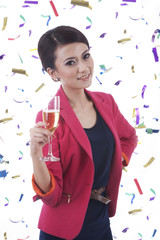 Caucasian Woman with Glass of Champagne
