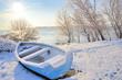 blue boat on danube river