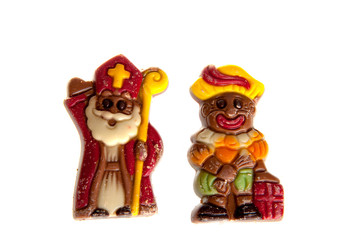 a sint and piet made of chocolate