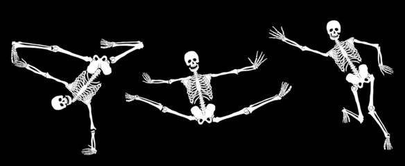 Active skeletons on black. Set #3. Vector.