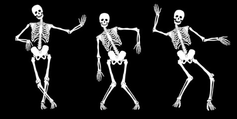Drunk skeletons on black. Set #2. Vector.