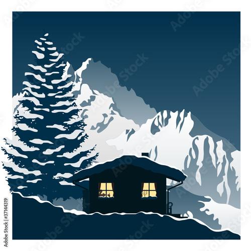 gemütliche Skihütte in den Bergen