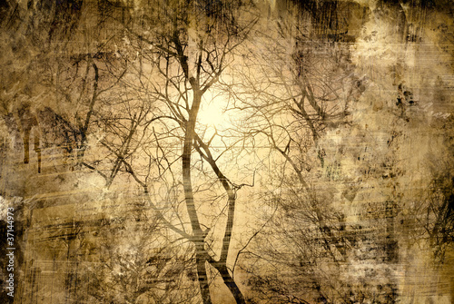 Mystical tree. abstract grunge floral background