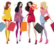 Bbeautiful young women with shopping bags