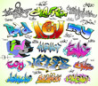 Graffiti design vector set