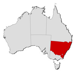 Map of Australia, New South Wales highlighted