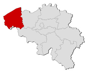 Map of Belgium, West Flanders highlighted