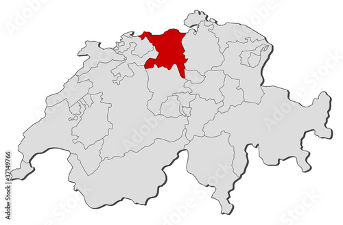 Map of Swizerland, Aargau highlighted