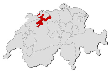 Map of Swizerland, Soleure highlighted