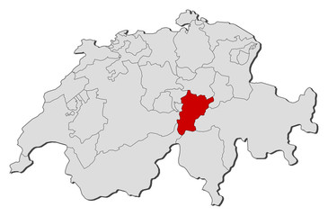 Map of Swizerland, Uri highlighted