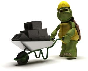tortoise Builder with a wheel barrow carrying bricks