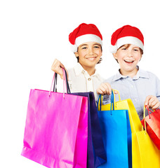 Happy Santa boys with gifts