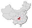 Map of China, Chongqing highlighted