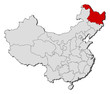 Map of China, Heilongjiang highlighted