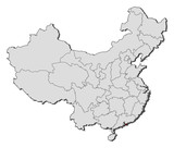 Map of China, Hong Kong highlighted
