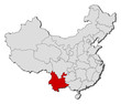 Map of China, Yunnan highlighted