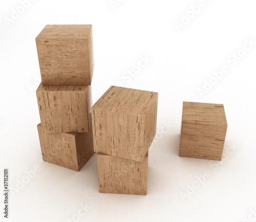 Costruzione con cubi di legno di 3darcastudio foto stock for Cubi in legno per arredare