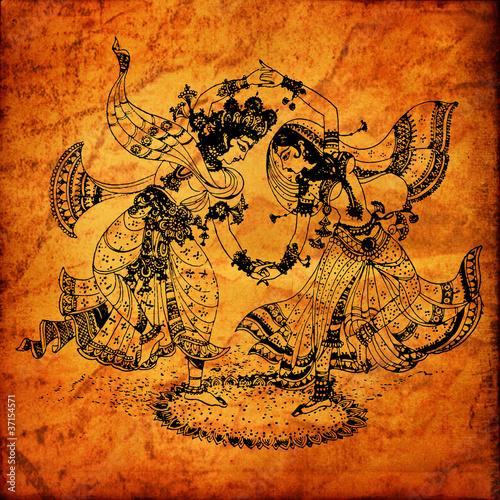 Leinwandbild Motiv An old Radha Krishna paintings