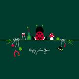 Ladybug & Symbols New Year´s Eve Green poster