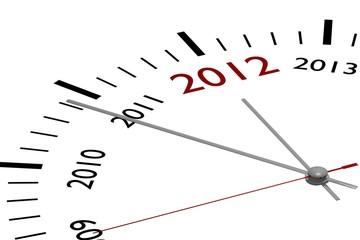 The new year 2012 in a clock