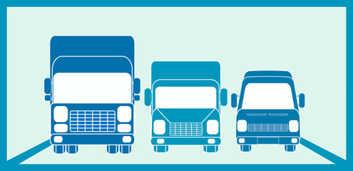 blue sign cargo freight with three transport objects