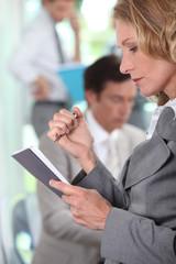 Businesswoman reading