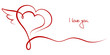 "Valentines Card 2 Hearts & Wing ""I love you"""