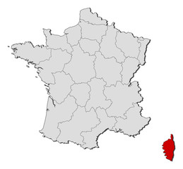 Map of France, Corsica highlighted