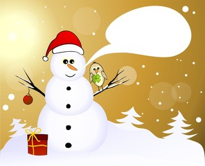 Snowman with lucky birds and gift