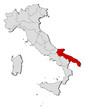 Map of Italy, Apulia highlighted