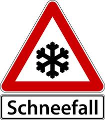 Schneefall Schild Verkehrszeichen Frost Winter Warnschild