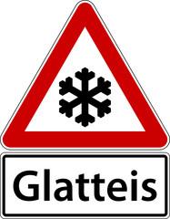 Glatteis Schild Verkehrszeichen Frost Winter Glatt Warnschild