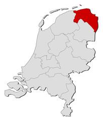 Map of Netherlands, Groningen highlighted