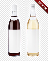 White and red wine bottles. Paths included.