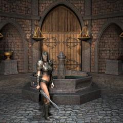 Schwertkämpferin auf dem Burghof