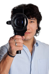 asian man face with old camera