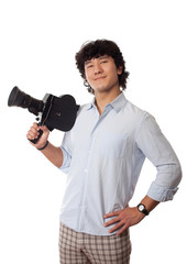 asian man with old camera in hand