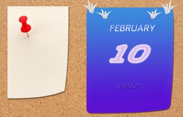 february calender of 2012 year on fiberboard