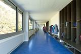 modern public school, corridor blue floor poster