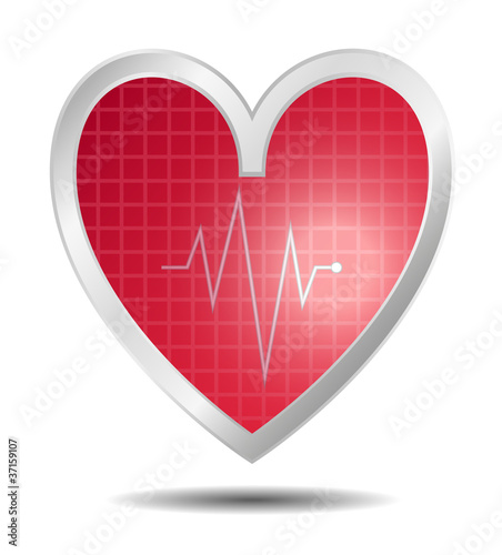 Diagnostics heart in red design