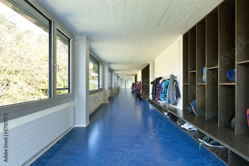modern public school, corridor blue floor - 37159130