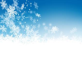 Blauer Himme, Winter, Schnee, Eisblumen, Schneeflocken, Frost