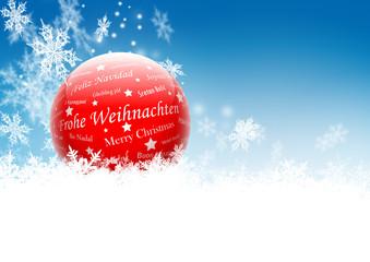 Frohe Weihnachten, International, Grußkarte, blauer Himmel, Eis